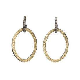 Armenta EARRING Size 0 MN/YG open circle-link drop earrings on champagne diamond huggie.