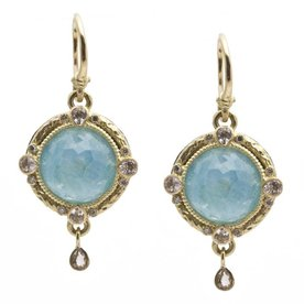 Armenta EARRING Size 0 Old World Midnight 12mm round faceted Blue Turquoise/Rainbow Moonstone doublet and diamond earrings on granulated hook.