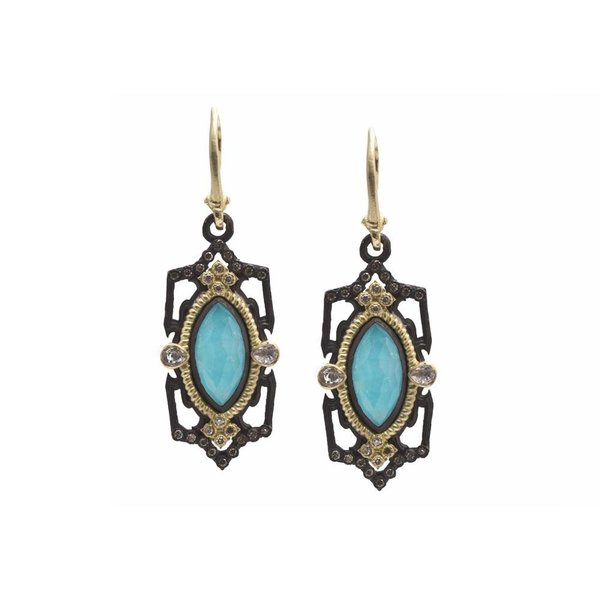 Armenta EARRING Size 0 Old World MN/YG open pointed elongated marquis drop earring with Blue Turquoise/Rainbow Moonstone, champagne diamonds and white sapphires.