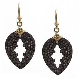 Armenta EARRING Size 0 Old World MN/YG pave pear cut-out drop earring with white and champagne diamonds.