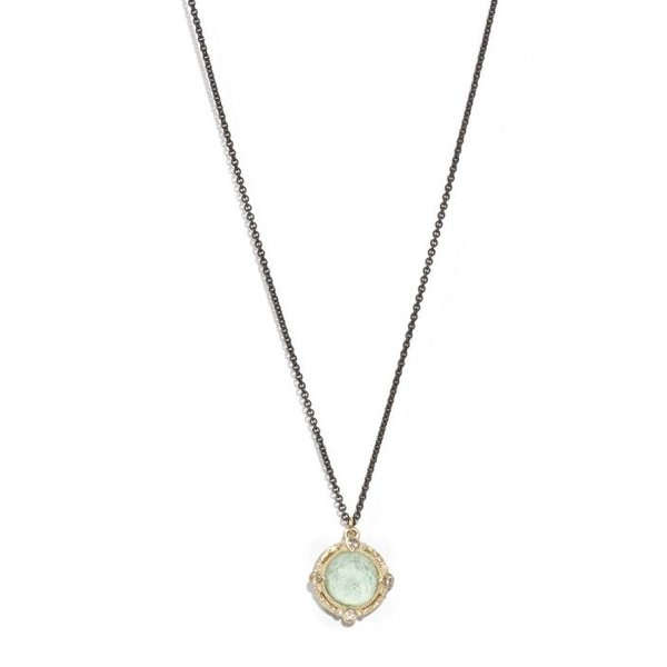 """Armenta NECKLACE Size 16 Old World MN 12mm round Blue Turquoise/Rainbow Moonstone doublet enhancer without sapphire drop on 16"""" midnight layer chain with midnight petite toggle."""