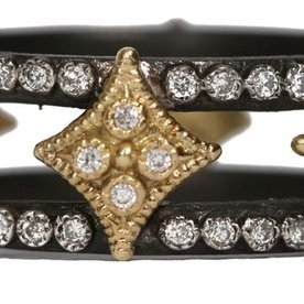 Armenta RING Size 6.5 MN double cravelli wide band with white diamonds.