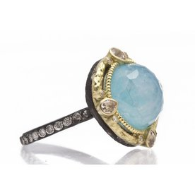 Armenta RING Size 6.5 Old World Midnight round 12mm Blue Turquoise/Rainbow Moonstone doublet and diamond ring on MN eternity diamond band.