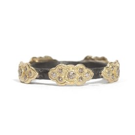 Armenta RING Size 6.5 Old World MN sculpted stack band with YG champagne diamond scrolls