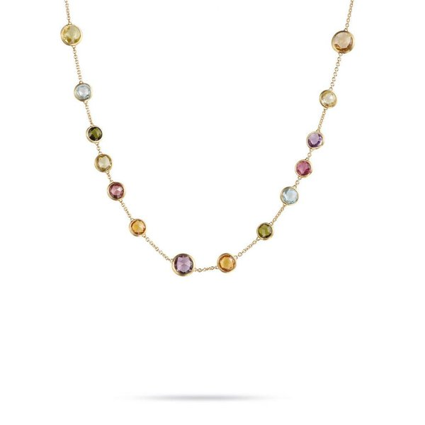MARCO BICEGO 18k hand engraved necklace with multicolored rose cut cushion stones.