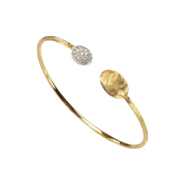 MARCO BICEGO 18k hand engraved yellow gold bangle with 0.15 carats of brilliant cut diamonds