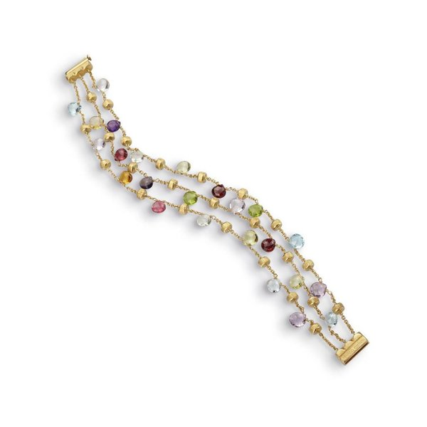 MARCO BICEGO 18k hand engraved yellow gold bracelet with tabeez cut multicolored stones.