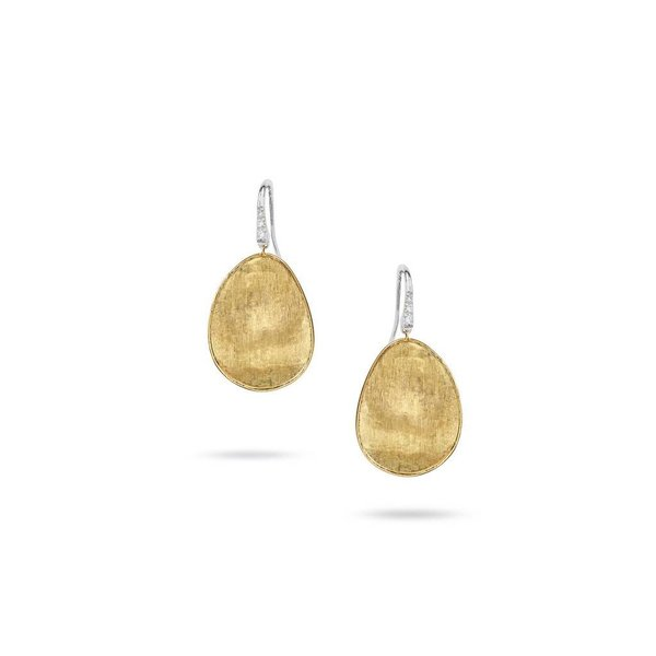 MARCO BICEGO 18k hand engraved yellow gold earrings with 0.05 carats of brilliant cut diamonds.