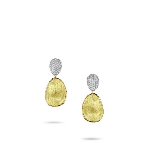 MARCO BICEGO 18k hand engraved yellow gold earrings with 0.56 carats of brilliant cut diamonds.