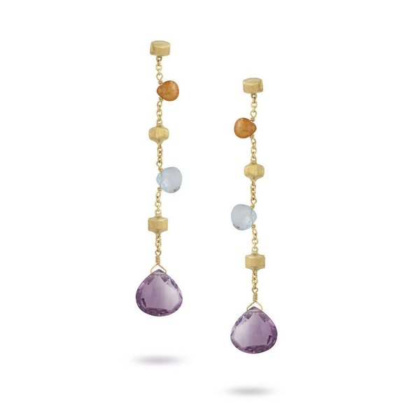 MARCO BICEGO 18k hand engraved yellow gold earrings with tabeez cut multicolored stones.