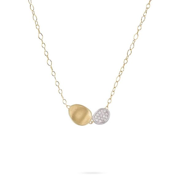 MARCO BICEGO 18k hand engraved yellow gold necklace with 0.2 carats of brilliant cut diamonds.