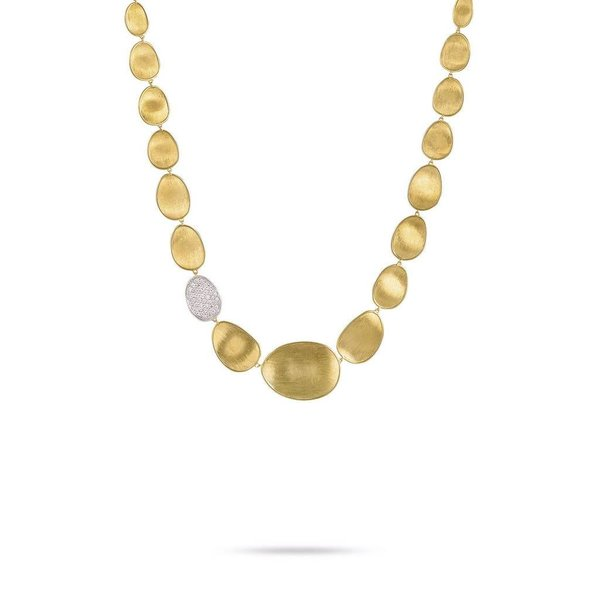 MARCO BICEGO 18k hand engraved yellow gold necklace with 0.67 carats of brilliant cut diamonds.