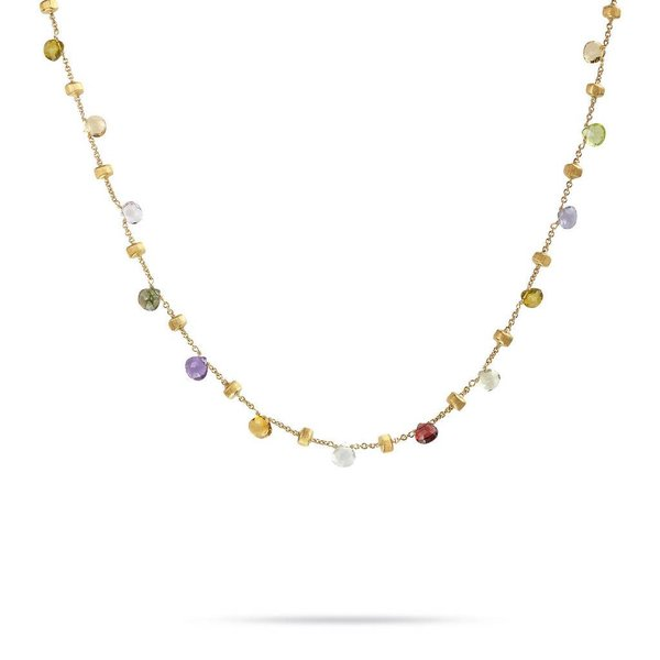 MARCO BICEGO 18k hand engraved yellow gold necklace with tabeez cut multicolored stones.