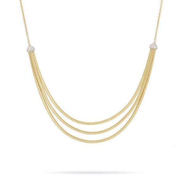 MARCO BICEGO 18k hand woven yellow gold necklace with 0.09 carats of brilliant cut diamonds.