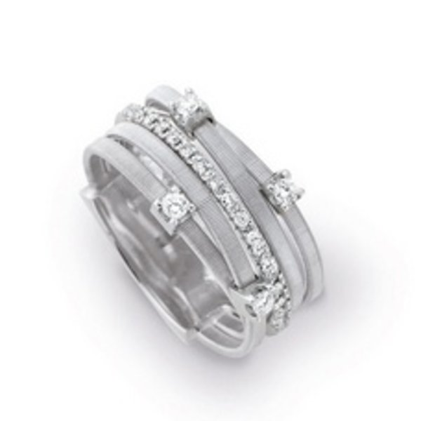 MARCO BICEGO 18k handmade white gold ring with 0.25 carats of brilliant cut diamonds