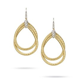 MARCO BICEGO 18k hand woven yellow gold earrings with 0.23 carats of brilliant cut diamonds