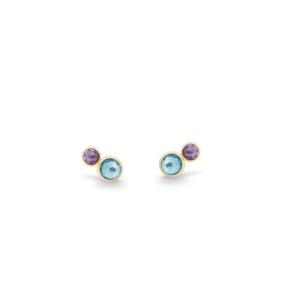 MARCO BICEGO 18K Yellow Gold Two Stone Stud with Topaz and Amethyst