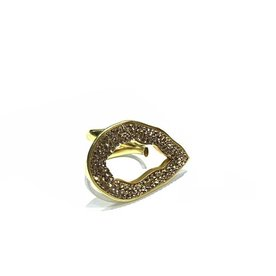 OPEN TEAR RING GOLD CRYS