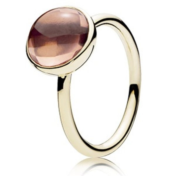 Pandora Blush Pink Poetic Droplet Gold Ring, Size 9