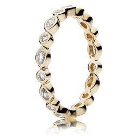 Pandora Alluring Brilliant Marquise Gold Ring, Size 4.5