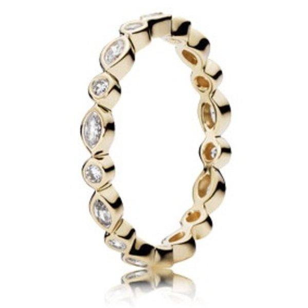Pandora Alluring Brilliant Marquise Gold Ring, Size 8.5