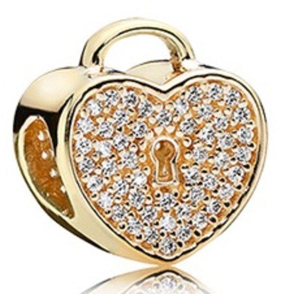 Pandora Heart Lock, Clear CZ