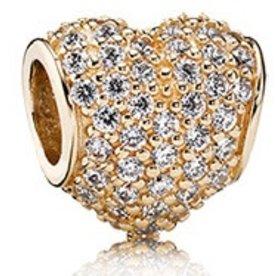 Pandora Pave Heart, Gold Charm