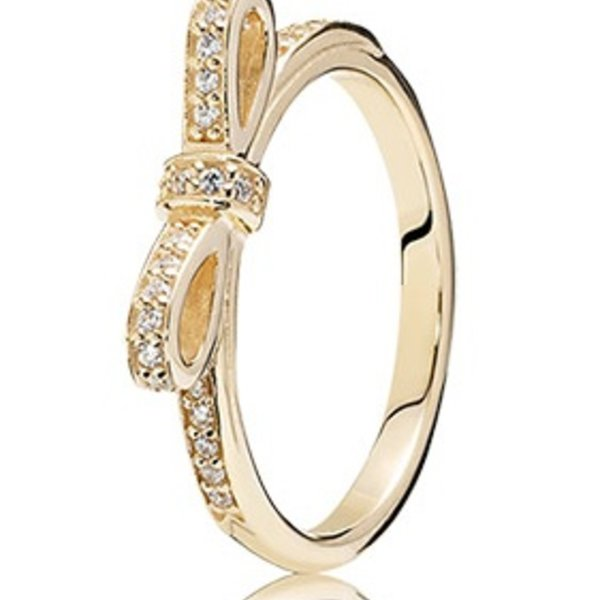 Pandora Sparkling Bow, Gold Ring, 7.5