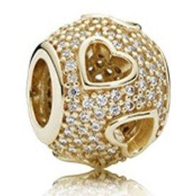 Pandora Tumbling Hearts Gold Charm