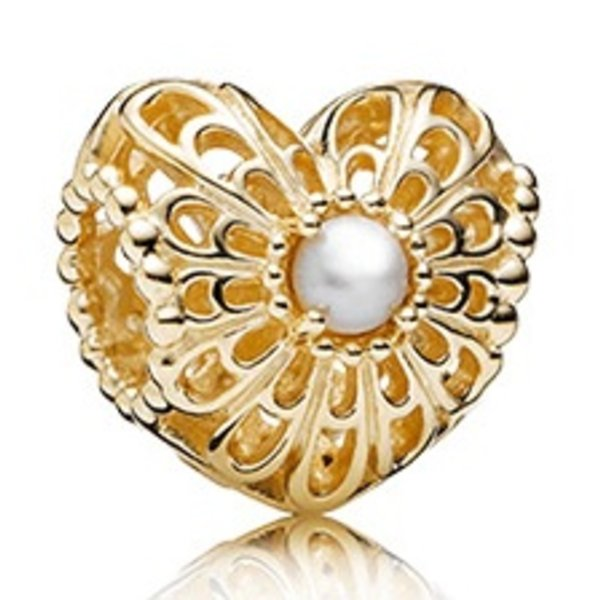 Pandora Vintage Heart, White Pearl