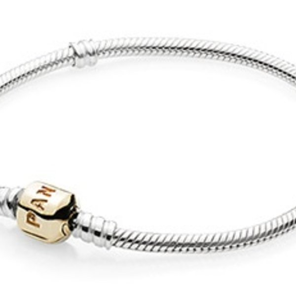 Pandora Sterling Silver w/ 14K Gold Clasp, 18 cm / 7.1 in