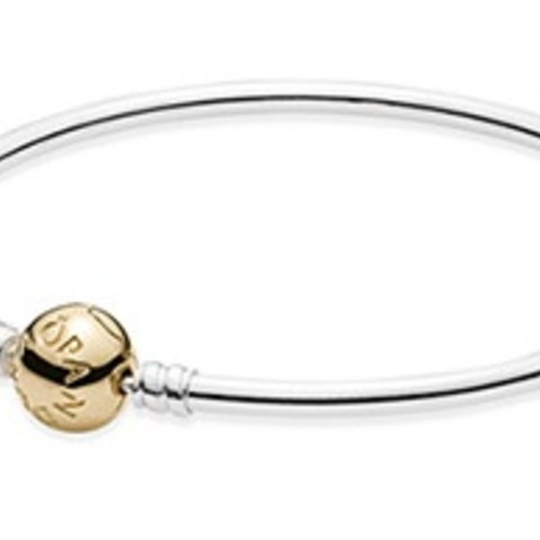 Pandora Sterling Silver w/ 14K Gold Clasp, 21 cm / 8.3 in