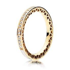Pandora Radiant Hearts of Pandora Gold Ring w/ Enamel, Size 6