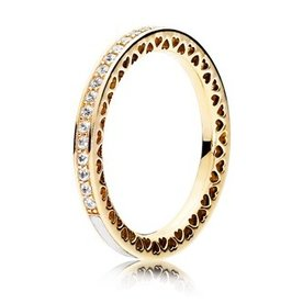 Pandora Radiant Hearts of Pandora Gold Ring w/ Enamel, Size 8.5