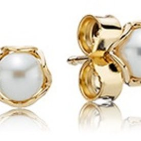 Pandora Cultured Elegance White Pearl Stud Earrings