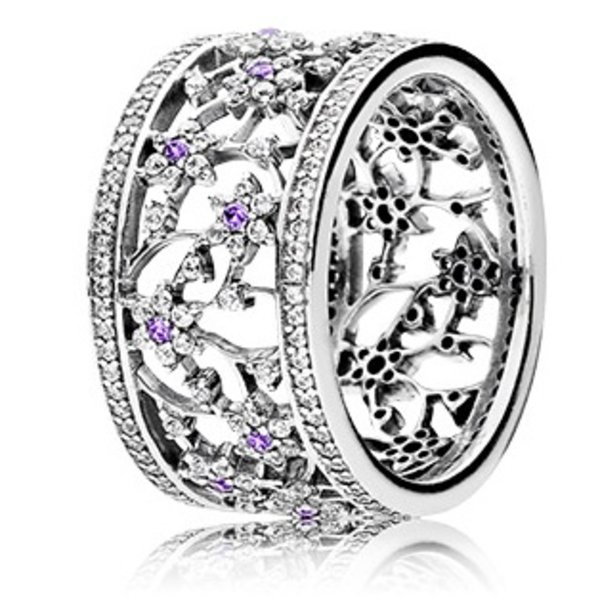 Pandora Forget Me Not, Purple & Clear CZ-60