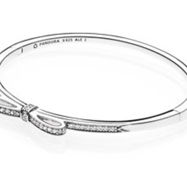 Pandora Hinged Bangle Sparkling Bow with Clear CZ-3