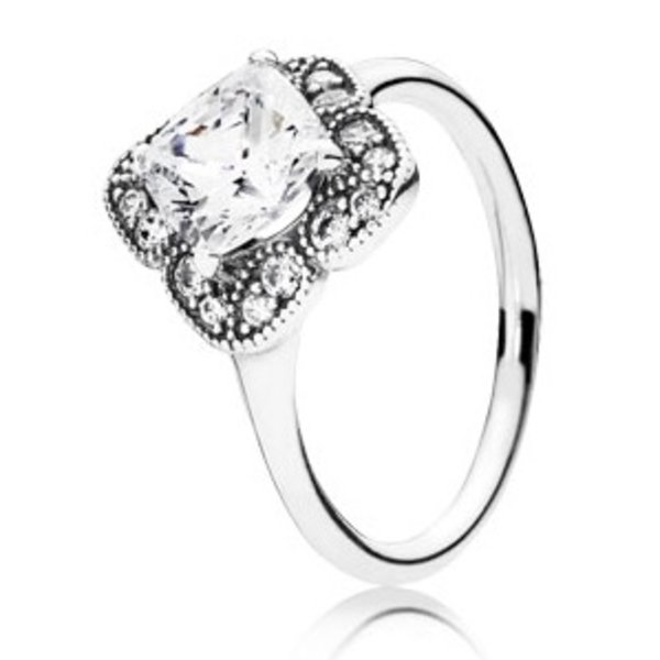 Pandora Crystalized Floral Fancy Ring, Size 7