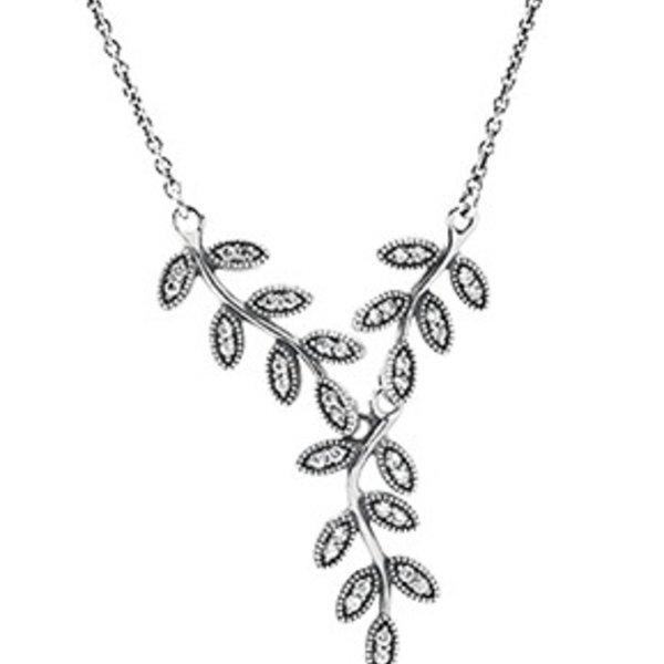 Pandora Sparkling Leaves Necklace