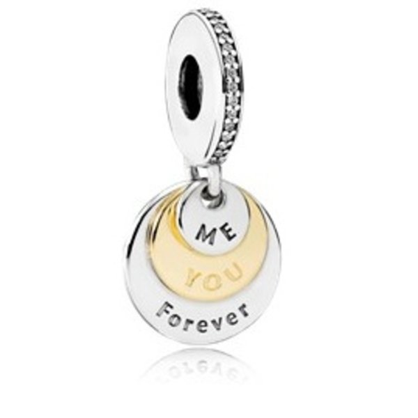 """Pandora Dangle You & Me Forever w/14K Gold and Engraving """"Me"""" """"You"""" and """"Forever"""""""