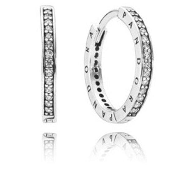 Pandora PANDORA Signature Hoop Earrings, Clear CZ