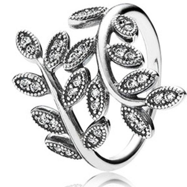 Pandora Sparkling Leaves Ring, Size 7