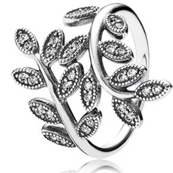 Pandora Sparkling Leaves, Clear CZ, Big