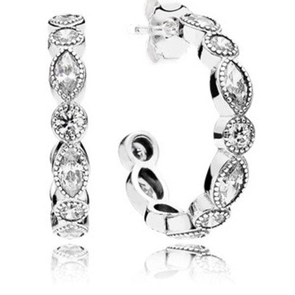 Pandora Hoop Earrings Alluring Briliant Marquise