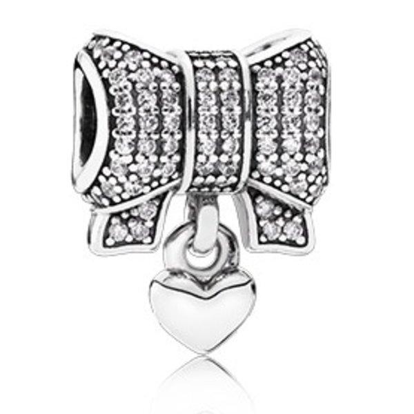 Pandora Heart & Bow, Clear CZ