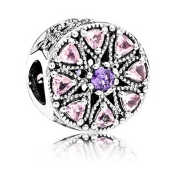 Pandora Shimmering Medallion w/ Purple, Rose Pink and CZ