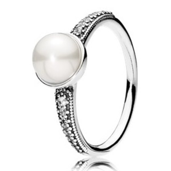 Pandora Ring Elegant Beauty with White Freshwater Cultured Pearl and Clear CZ