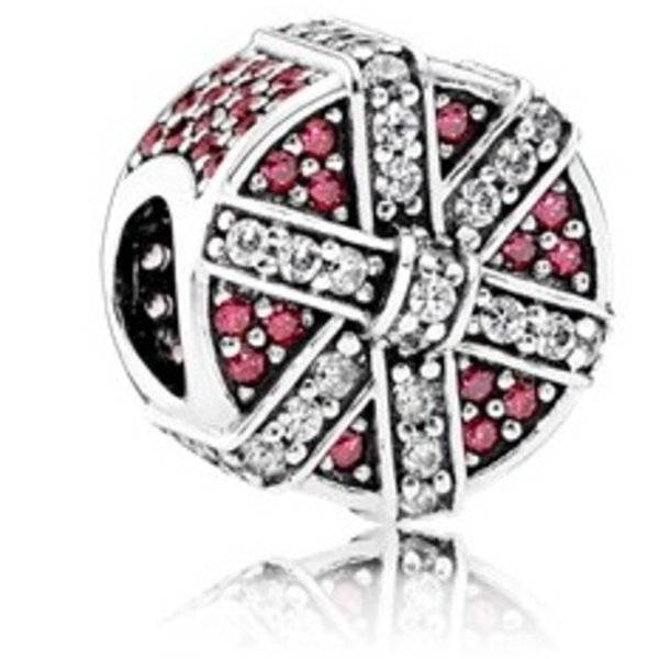 Pandora Charm Red Shimmering Gift with Red and Clear Cubic Zirconia