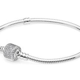 Pandora Clear Pave Moments Bracelet, Size 19