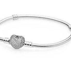 Pandora Pave Heart Bracelet, Size 18